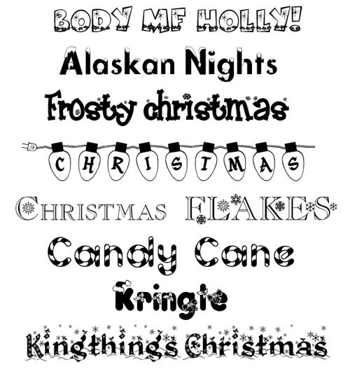 декоративные новогодние шрифты