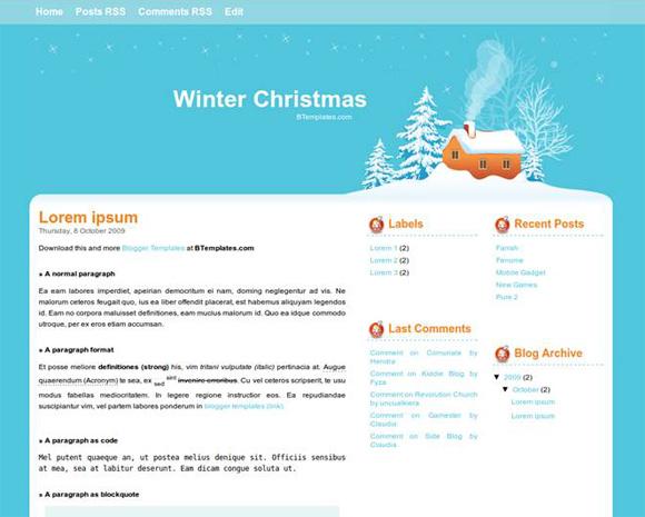 зимний шаблон Blogspot