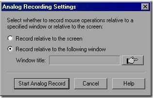 Analog recording settings