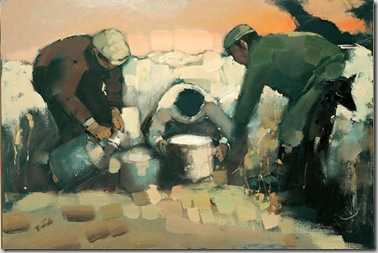 Mungitura, olio su tela, cm 100x70, 1970