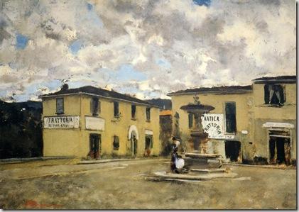 Telemaco Signorini, Piazzetta a Settignano in un giorno di pioggia, 1881ca. Collezione privata
