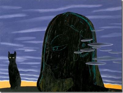 Donna con Gatto, 2005 olio su tela, 130 x 180 cm
