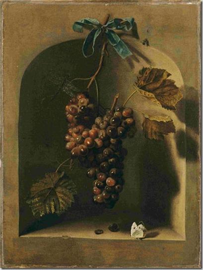 Barend Van der Meer -Haarlem 1659-ante 1702. Grappolo d'uva appeso davanti a una nicchia II° metà del XVII secolo Tela, cm 53 x 43. L'Aja, Museo Bredius
