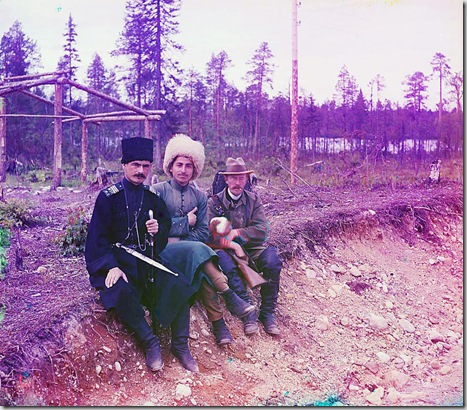 Photographer posing with two others; 1915 Sergei Mikhailovich Prokudin-Gorskii Collection (Library of Congress).