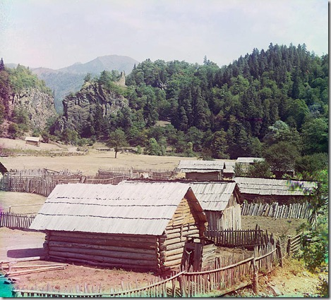 Log buildings in the Ural Mountain Region; between 1905 and 1915 Sergei Mikhailovich Prokudin-Gorskii Collection (Library of Congress).