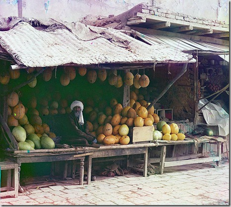 Melon vendor, Samarkand; between 1905 and 1915 Sergei Mikhailovich Prokudin-Gorskii Collection (Library of Congress).