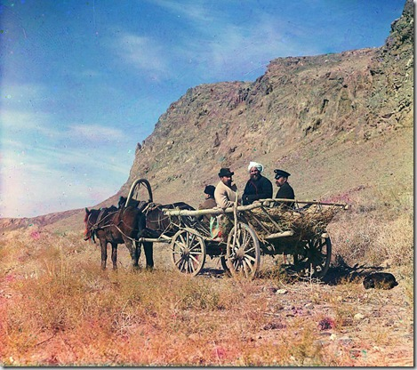 At work on the upper reaches of the Syr-Darya, Golodnaia Steppe, Four men on a horse-drawn cart, next to a cliff; between 1905 and 1915 Sergei Mikhailovich Prokudin-Gorskii Collection (Library of Congress).
