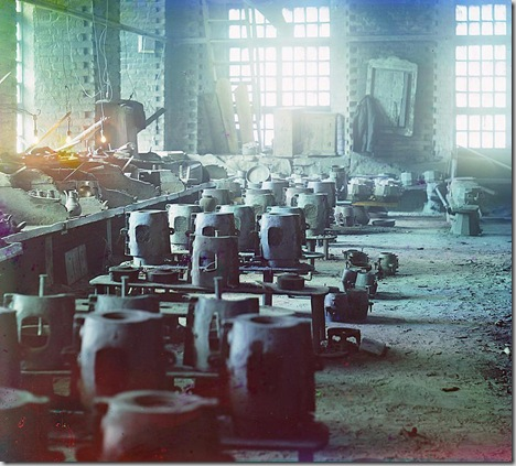 Molding shop at the Kasli plant; 1910 Sergei Mikhailovich Prokudin-Gorskii Collection (Library of Congress).