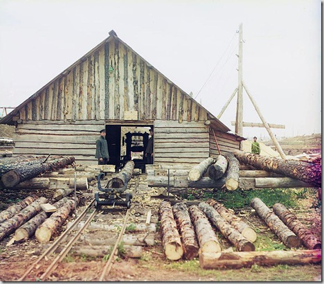 Sawmill, Oka River, Several men standing near a sawmill; 1912 Sergei Mikhailovich Prokudin-Gorskii Collection (Library of Congress).