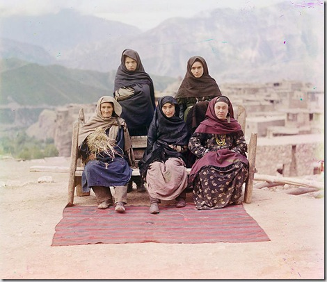 Dagestani types, Group of women posed outdoors; between 1905 and 1915 Sergei Mikhailovich Prokudin-Gorskii Collection (Library of Congress).