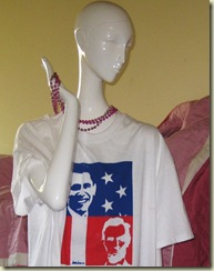 Obama and Lincoln Mannikin with T-shirt, detail