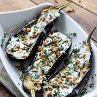 Roasted Eggplant with Buttermilk Sauce, Mint, Basil and Pine Nuts