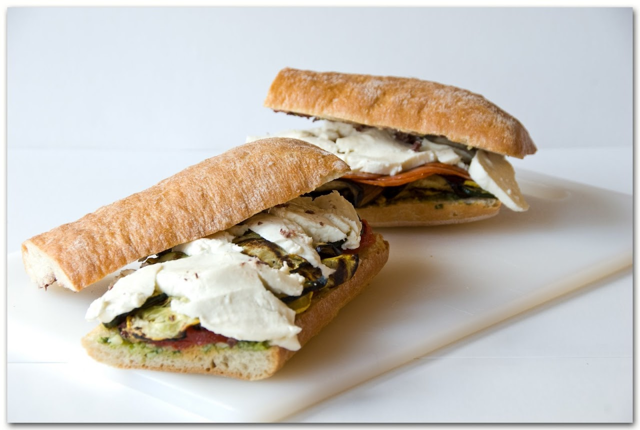 Vegetarian pressed sandwiches