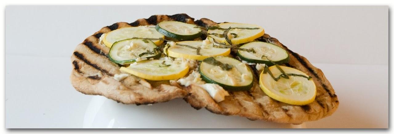 grilled lemony zucchini goat cheese pizza