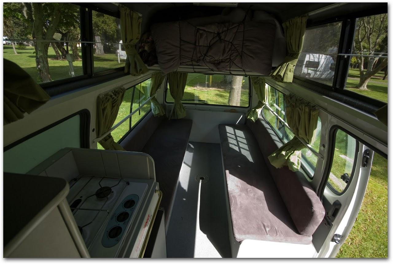 Interior of Franz ExploreMore Campervan