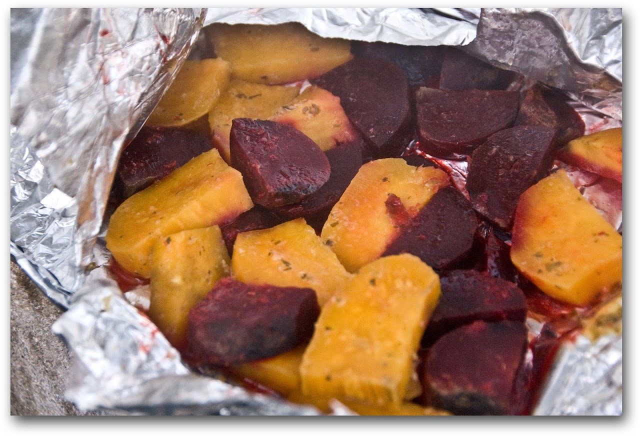 Sweet potatoes and beets in hangi