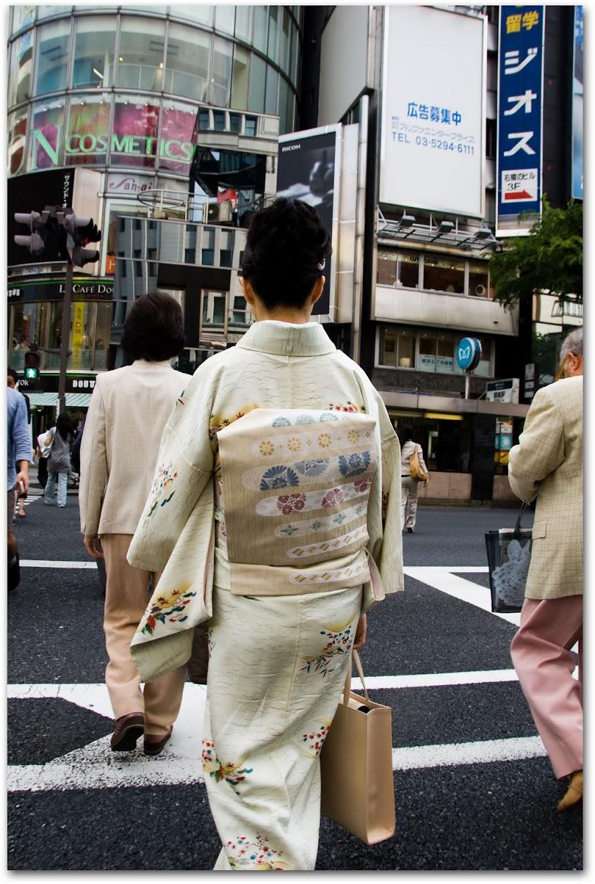 Woman in kimono in Ginza