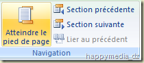Word 2007, bouton Atteindre le pied de page