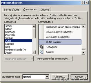 """Boîte de dialogue """"Personnalisation"""" affichant la commande """"Outils Calculer"""" de la catégorie """"Outils"""" sous l'onglet """"Commandes"""""""