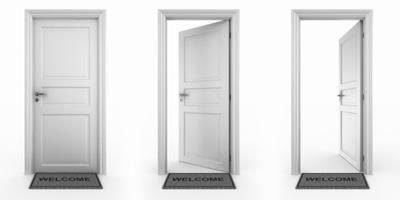 Doors with welcome mat