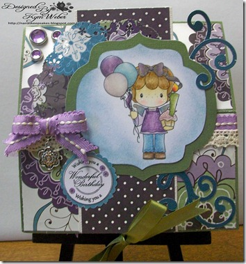 Birthday Gretel Cake with Candles Easel Card