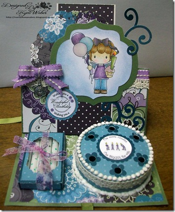 Birthday Gretel Cake with Candles Easel Card1