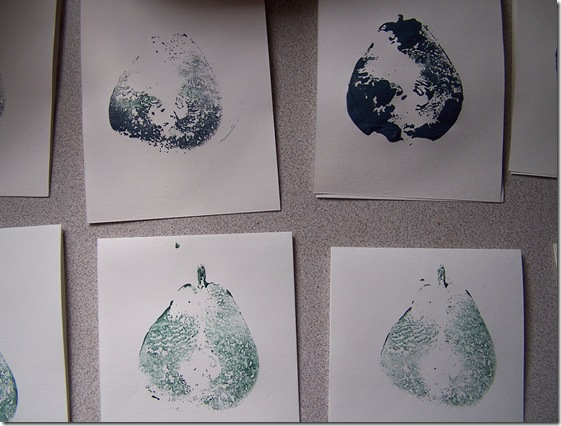 how to hand print cards with pears