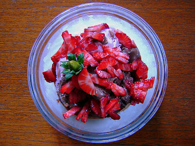chocolate blueberry ice-cream strawberries kiwi fruit