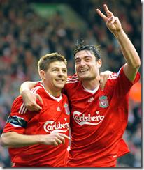 Reira (R) with Steven Gerrard