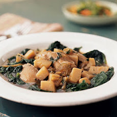 Chicken and Potatoes over Sautéed Spinach