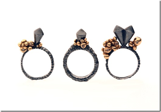 Ros Millar, Black & Rose Growth Collection, 3 Rings with Brown Diamonds, August 2010