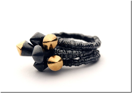 Black and Rose Growth Collection, Double Stud Stacking Ring, March 2010