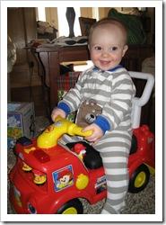Reid on his new firetruck! Dec 2009