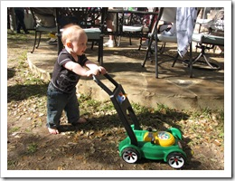 Reid love his new lawnmower!