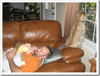 Daddy & Reid sleeping and Sadie Belle watching for trouble, 6-13-09