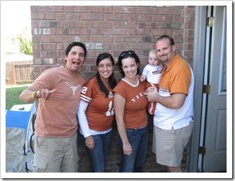 HOOK'EM!!  Miguel, Gretel (Cabo is sleeping!), Jenny, Reid & Jer