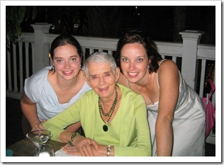 Stephanie, Gramma I me at our rehursal dinner in Key West, 2005.