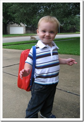 Reid was really pleased with his big boy backpack and his new shoes!