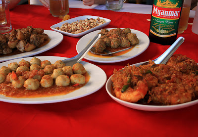 Shan dishes serve with Myanmar Beer