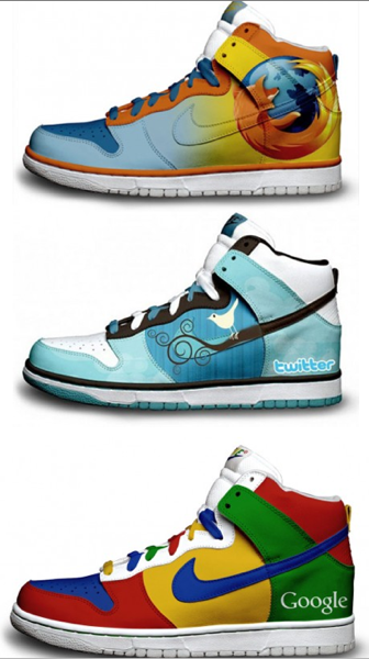 Twitter google firefox nike sneakers