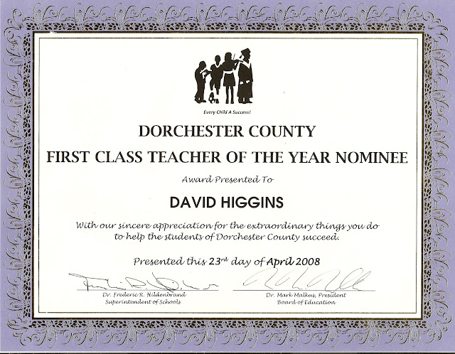 Dorchester County First Class Teacher of the Year nominee