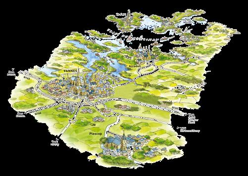 Carte illustrée de la ville de Vannes