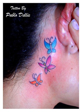 butterfly tattoo design, behind ear tattoo