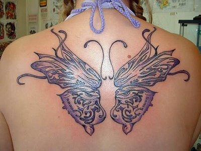 black and white butterfly tattoos. Big utterfly tattoo design on