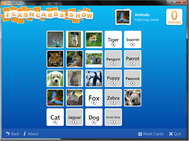 FlashCards.Show Matching Game Screenshot