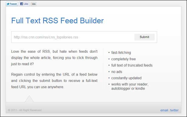 FullTextRSSFeed.com Screenshot