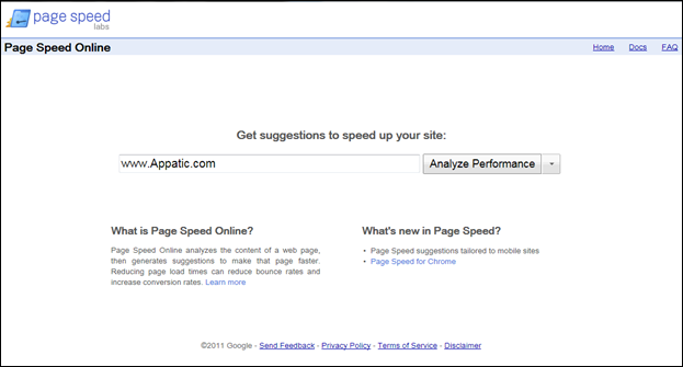 Page Speed Online site screenshot