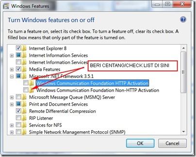 Cara instal dotNetFramework 3.5 di Windows 7