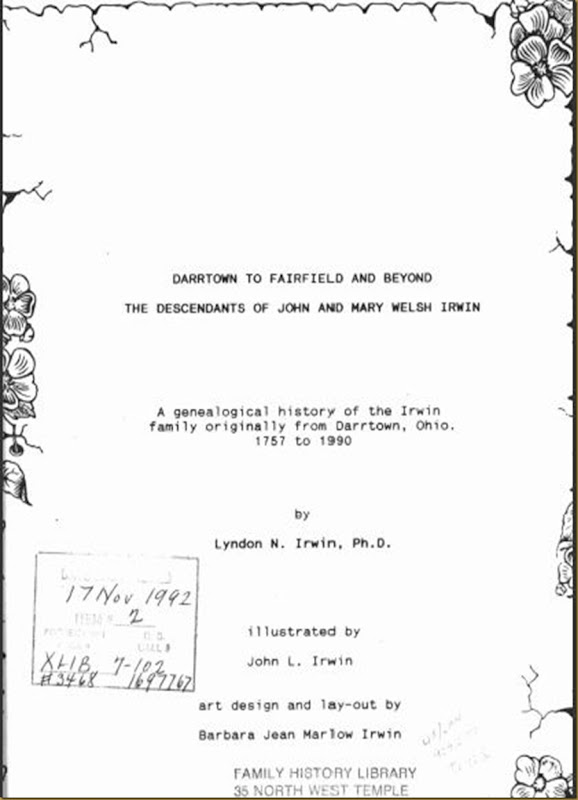 Darrtown to Fairfield and Beyond Irwin Genealogy Bulter County, Ohio