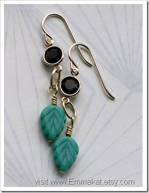 Black and Teal Leaf Earrings